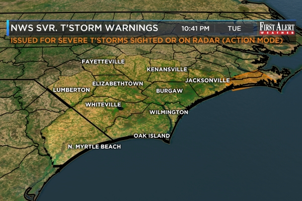 A Severe Thunderstorm Watch is in effect for all of
